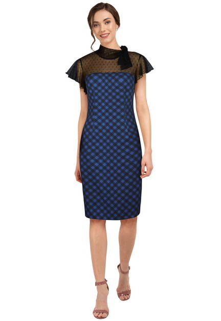 Plus Size Blue/Black Fishnet Retro Dress - orangeshine.com