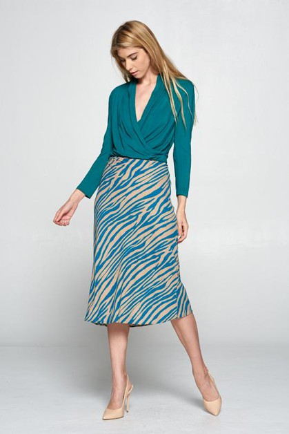 Teal Animal Print Midi Skirt - orangeshine.com
