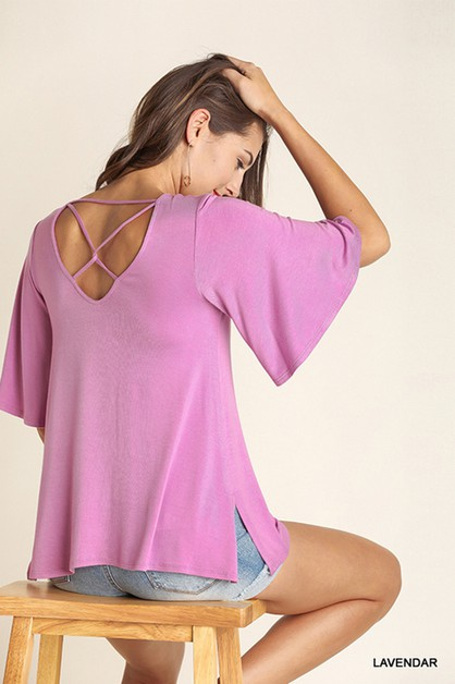 Elbow Bell Sleeve Top - orangeshine.com