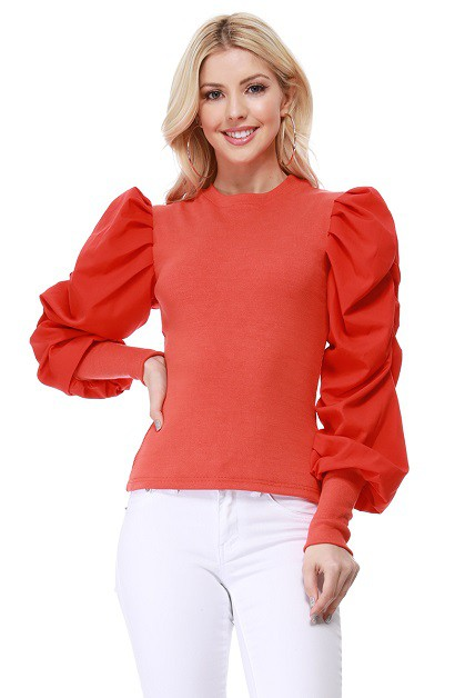 Round Neck Bubble Sleeve Rib Top - orangeshine.com