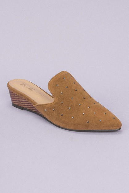 Studded Mule Wedge - orangeshine.com