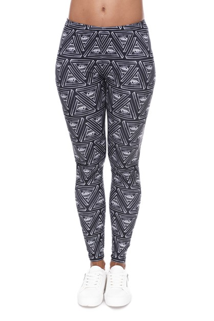 TRIANGLES EYES Printed Leggings - orangeshine.com