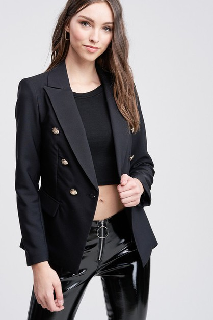 BUTTON BLAZER WITH FLAP POCKETS - orangeshine.com