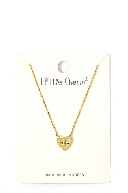BRUSHED HEART CHARM NECKLACE - orangeshine.com
