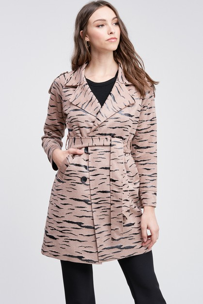 TIGER PRINT TRENCH COAT WITH POCKETS - orangeshine.com