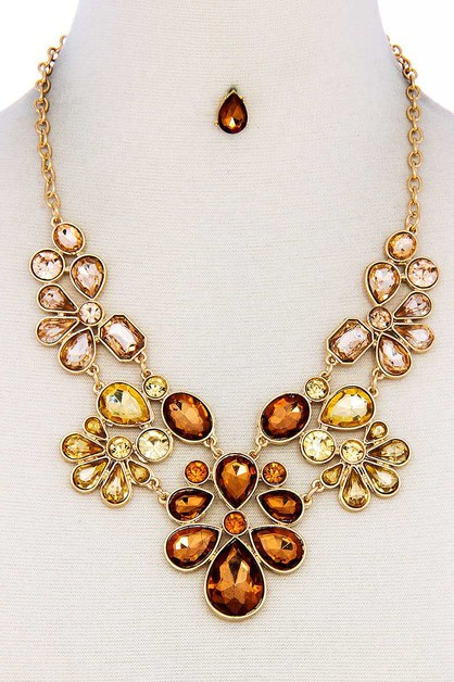 RHINESTONE SEQUENCE NECKLACE  - orangeshine.com