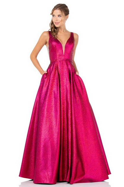 V-Neck Evening Dress - orangeshine.com
