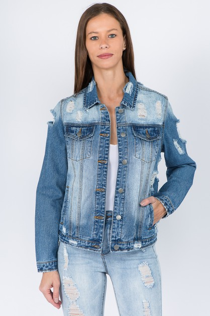 DISTRESSED BASIC DENIM JACKETS - orangeshine.com