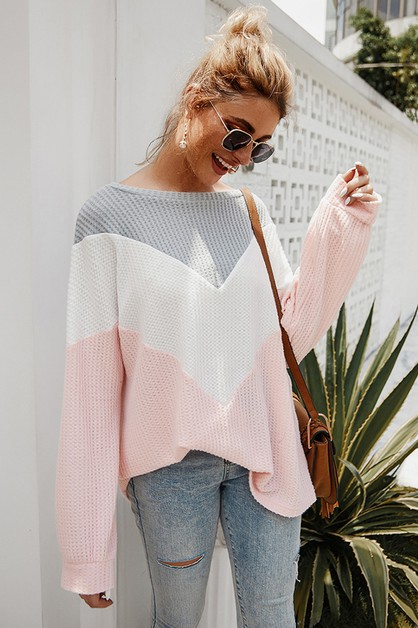 Color Block Pullover Causal Tops - orangeshine.com