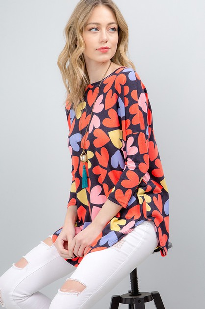 HEART PRINT LOOSE FIT TOP - orangeshine.com