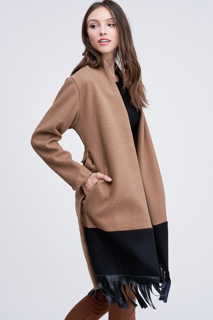 TWO TONE FELT WOOL LONG JACKET - orangeshine.com
