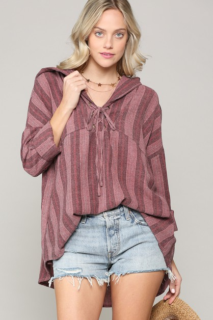 STRIPED OVERSIZE RIBBON HOODIE TOP - orangeshine.com