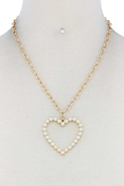 PEARL HEART PENDANT NECKLACE - orangeshine.com
