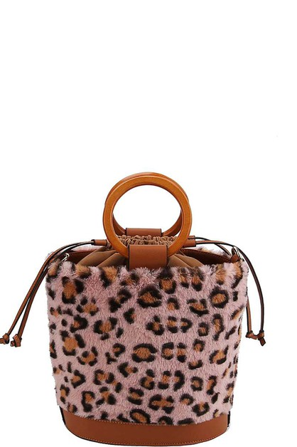 LEOPARD SOFT FUR BUCKET SHOULDER BAG - orangeshine.com