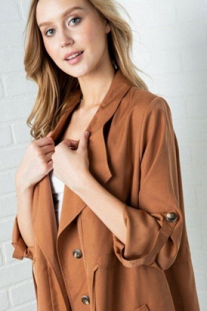 NOTCHED COLLAR LAPEL TRENCH COAT - orangeshine.com