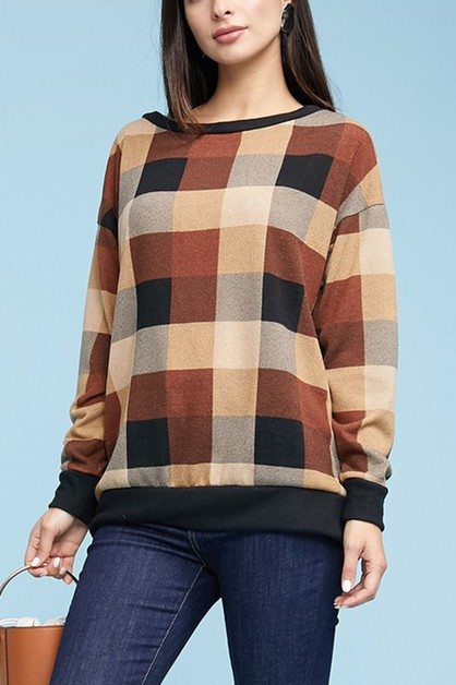 PLAID WIDE NECKLINE SWEATER TOP - orangeshine.com