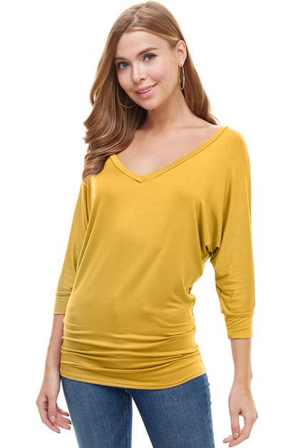 V-Neck Mid Sleeve Dolman Tunic Top - orangeshine.com