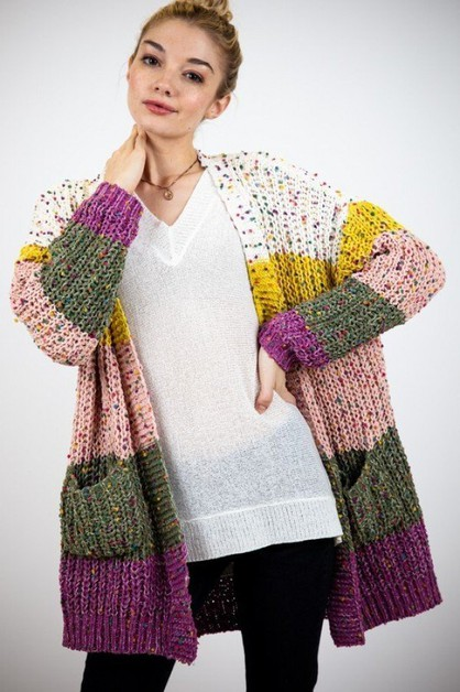 MARLED COLOR BLOCK FUZZY CARDIGAN - orangeshine.com
