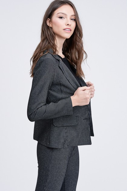 LUREX STRIPE BLAZER WITH FLAP POCKET - orangeshine.com