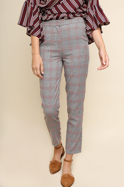 Plaid Print High Waisted Trouser Pan - orangeshine.com