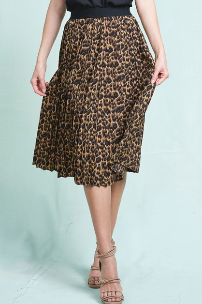 Leopard Print Pleated Midi Skirt - orangeshine.com