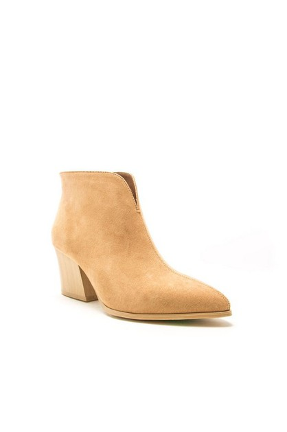 POINTY TOE CHUNKY HEEL V CUT BOOTIES - orangeshine.com