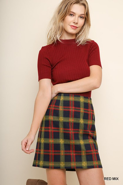 High Waist Plaid Mini Skirt  - orangeshine.com