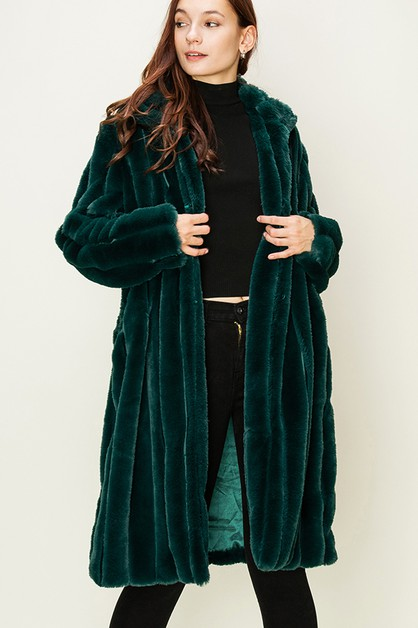 LONG FAUX FUR COAT - orangeshine.com