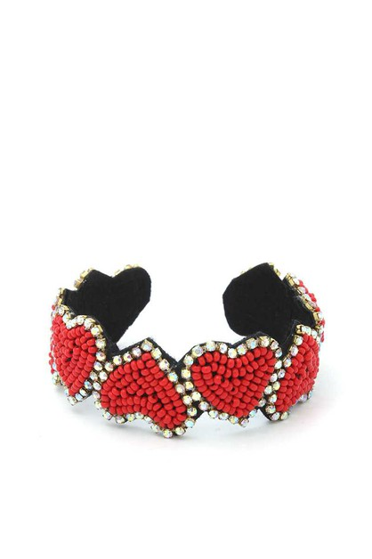 BEADED HEART CUFF BRACELET - orangeshine.com