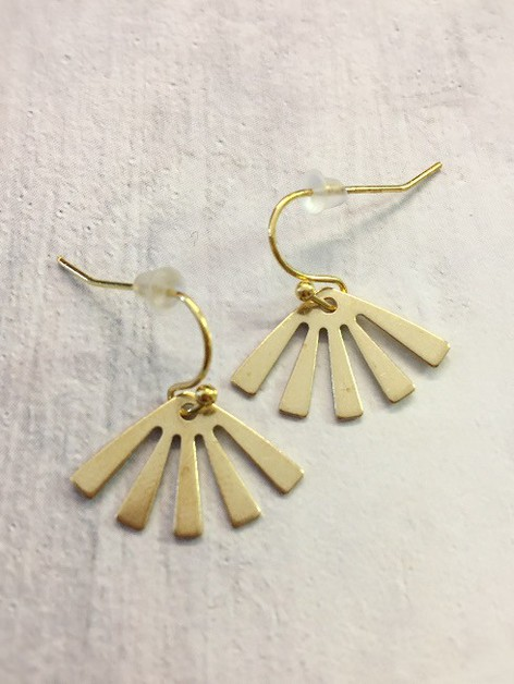 Raw brass sunbeam earrings - orangeshine.com