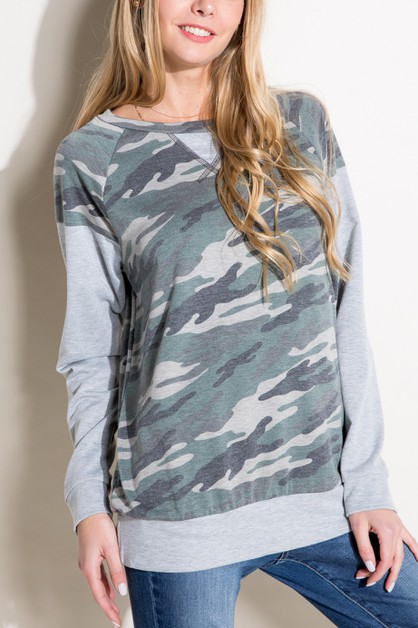 Women Camouflage print long sleeve t - orangeshine.com