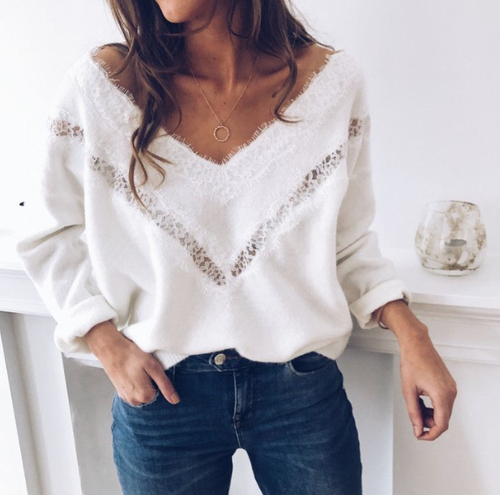 Hollow Cutout Sweater - orangeshine.com