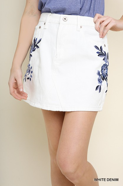 High Waisted Embroidered Denim Skirt - orangeshine.com