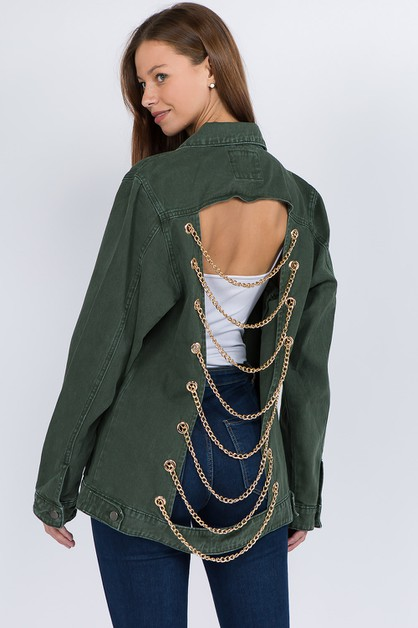 OVERSIZED DENIM JACKET WITH CHAINS - orangeshine.com