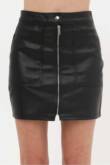 FAUX LEATHER ZIP UP MINI SKIRT - orangeshine.com