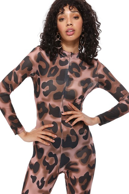 Leopard Print High-waisted Jumpsuit - orangeshine.com