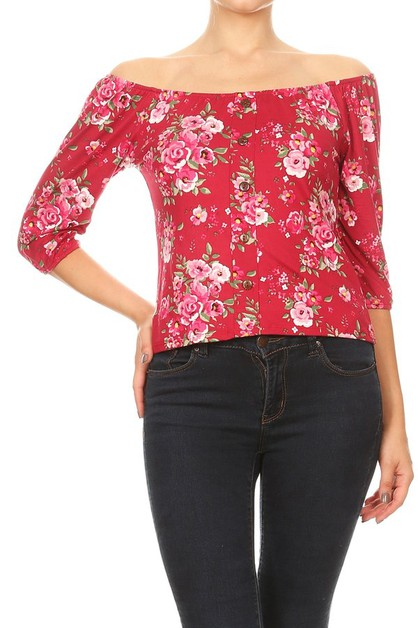 Red Floral Boho Off Shoulder Tops - orangeshine.com