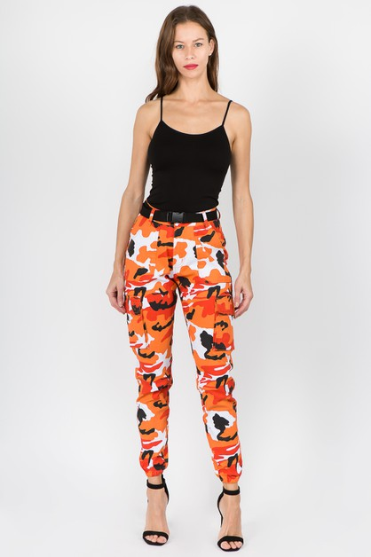 HIGH WAIST COLOR CAMO JOGGERS - orangeshine.com