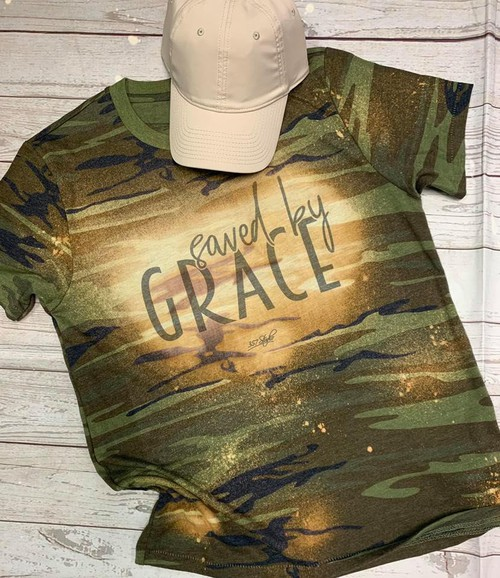 GRAPHIC TEE - Camo Saved By Grace - orangeshine.com