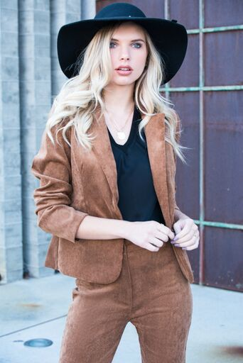 SINGLE BUTTON CORDUROY BLAZER - orangeshine.com