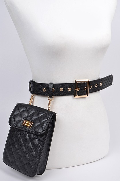 Quilted Belt With Pouch - orangeshine.com
