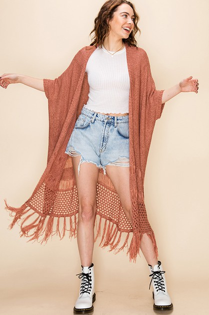 KNITTED DUSTER WITH TASSELS - orangeshine.com
