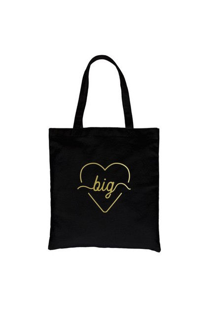 Big Line Heart Gold Vinyl Canvas Bag - orangeshine.com