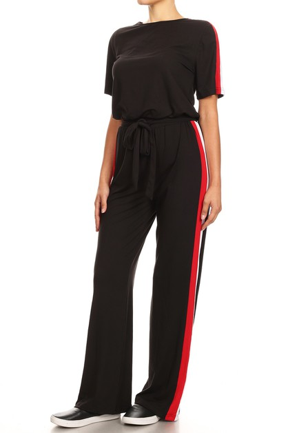 Solid Relaxed Fit Jumpsuits Wide leg - orangeshine.com