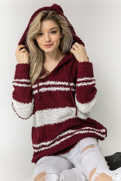 STRIPED POPCORN SWEATER WITH HOODIE - orangeshine.com