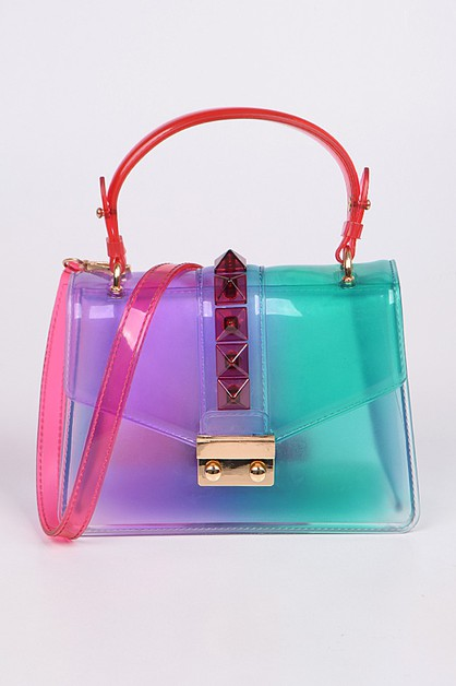 Multicolor Melt Clear PVC Clutch - orangeshine.com