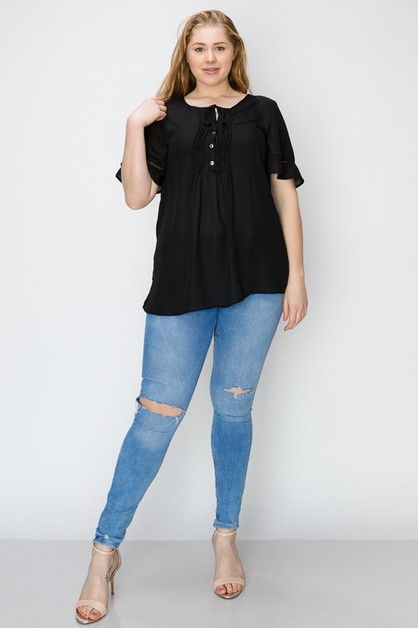 Plus Size Ruffled front Top - orangeshine.com