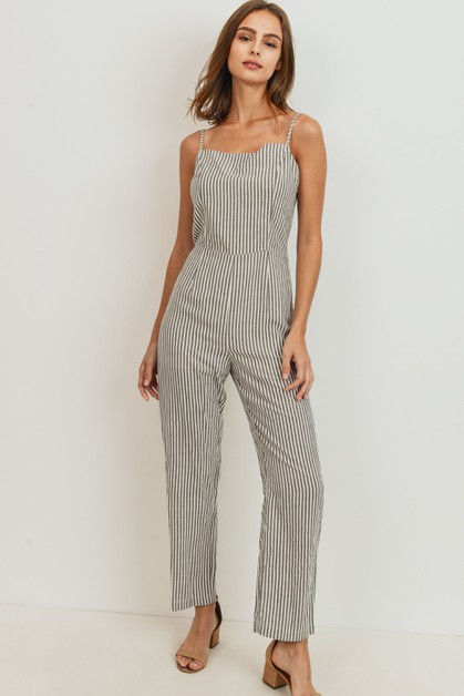 Striped Spaghetti Strap Jumpsuit - orangeshine.com