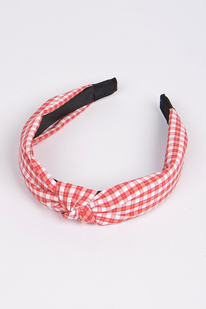 Knotted Check Pattern Headband - orangeshine.com