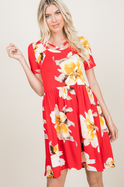 CRISS CROSS STRAP NECKL FLORAL DRESS - orangeshine.com